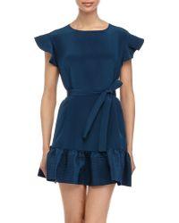 Cynthia Rowley Ruffle-Trim Belted Flounce Dress - Lyst
