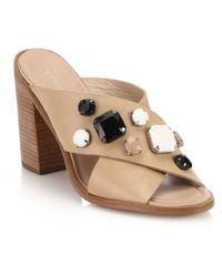 Loeffler Randall Etta Jeweled Leather Crisscross Mules beige - Lyst