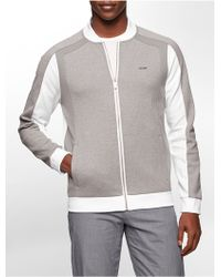 Calvin Klein White Label Classic Fit Colorblock Zip Front Baseball Jacket - Lyst