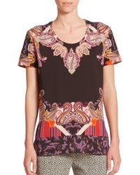 Etro Paisley-Print Cotton Top - Lyst