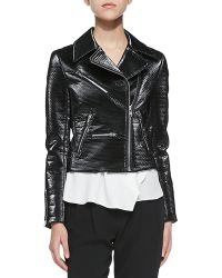 A.L.C. Clarke Moto Jacket W Shiny Coating - Lyst