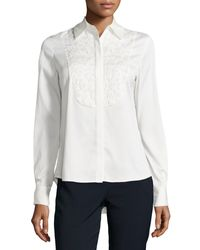 Catherine Catherine Malandrino Embroidered Long-sleeve Blouse - Lyst