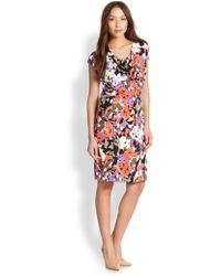 Boss by Hugo Boss Floral Cap-Sleeve Jersey Dress - Lyst