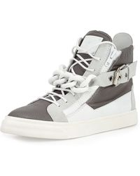Giuseppe Zanotti Colorblock Leather Chain High-top Sneaker - Lyst