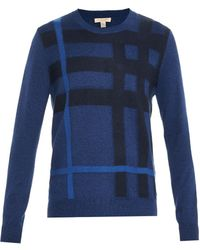 Burberry Brit Royston Checked Cashmere-blend Sweater - Lyst