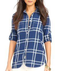 Ralph Lauren Lauren Plaid Roll Sleeve Shirt - Lyst