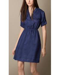 Burberry Ramie Shirt Dress - Lyst