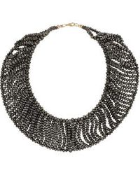 Topshop Haematite Beaded Collar - Lyst