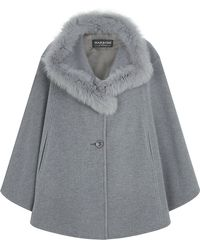 Harrods Wool-Cashmere Cape With Fox Collar - Lyst