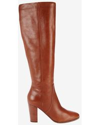 Belle By Sigerson Morrison - Foldover Knee High Stack Heel Boot: Brown - Lyst