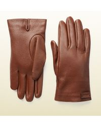 Gucci Cashmere Lined Leather Gloves - Lyst