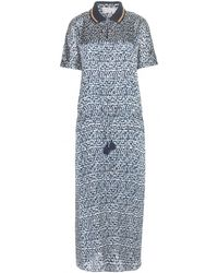 Tory Burch Honeycomb Printed Silk Maxi Dress - Lyst