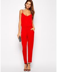 Lipsy Jersey Jumpsuit with Cami Straps - Lyst