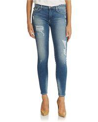 True Religion Distressed Skinny Jeans - Lyst