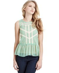 Free People Lace and Stripe Peplum Top - Lyst