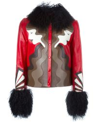Holly Fulton - Shearling Trim Leather Jacket - Lyst
