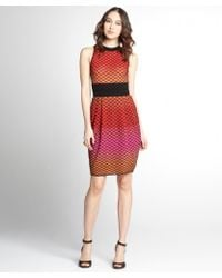 M Missoni Red And Orange Stretch Knit Cut-Out Back Sleeveless Dress - Lyst