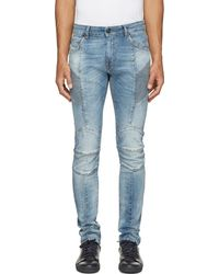 Balmain Blue Ribbed And Reinforced Biker Jeans - Lyst