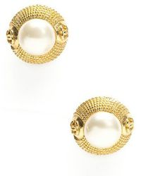 Chanel Pre-owned Faux Pearl Gold Clip On Earrings - Lyst