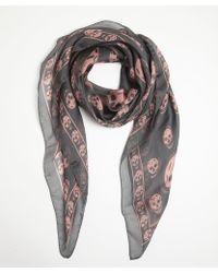 Alexander McQueen Pink and Black Silk Skull Printed Scarf - Lyst