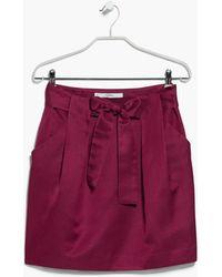 Mango Bow Satin Skirt - Lyst