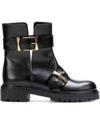 Alexander McQueen Leather Boots black - Lyst