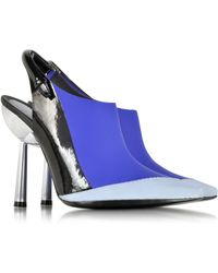 Kenzo Blue Rubber And Leather Slingback Pump blue - Lyst