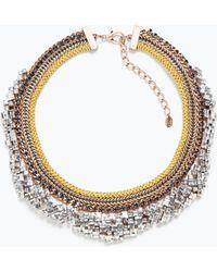 Zara Shiny Crystal Necklace - Lyst