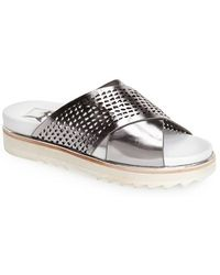 Dolce Vita 'Shaye' Perforated Leather Slide Sandal silver - Lyst
