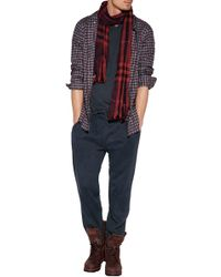 Burberry Wool-cashmere Giant Check Crinkle Scarf - Lyst