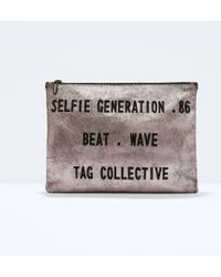 Zara Metallic Text Wallet - Lyst