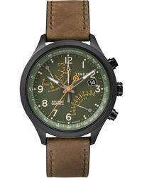 Timex - Men'S Intelligent Quartz Fly-Back Chronograph Olive Leather Strap 43Mm T2P381Ab - Lyst