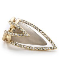 Alexis Bittar Crystal Encrusted Chevron Cocktail Ring - Warm Grey - Lyst