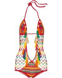 Anna Kosturova Monokini Crocheted Cotton Swimsuit - Lyst