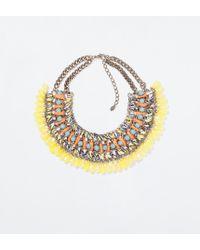Zara Diamante and Cord Necklace - Lyst