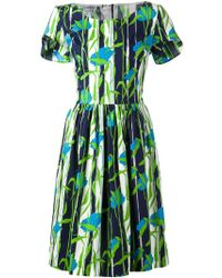 Oscar de la Renta Abstract Print Flared Dress - Lyst