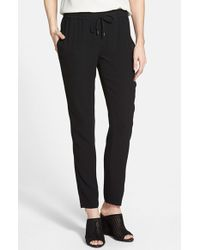 Eileen Fisher Silk Crepe Ankle Pants - Lyst