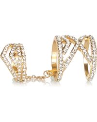 River Island Gold Tone Diamante Hinged Double Ring - Lyst
