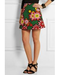 House of Holland Dolly Floral-Print Woven Cotton Mini Skirt - Lyst