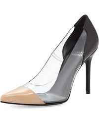 Stuart Weitzman Onview Pvcleather Pointed-toe Pump - Lyst