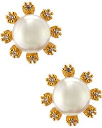 Tai - Gold-plated Pearly Crystal Button Earrings - Lyst