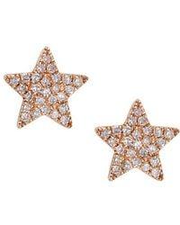 CR By Casa Reale - 14 K Gold White Diamonds Star Stud Earrings - Lyst