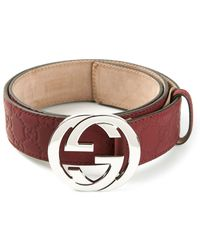 Gucci Sima Embossed Belt - Lyst