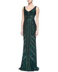 Theia Sleeveless Beaded Column Gown Hunter 6 - Lyst