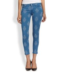 Mother The Looker Printed Cropped Skinny Jeans - Lyst