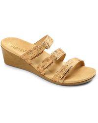 Vionic - Dwyn Leather Wedge Slide Sandals - Lyst