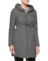 Moncler Long Puffer Drawstring Coat - Lyst