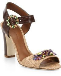 Dolce & Gabbana Bejeweled Leather And Raffia Sandals - Lyst