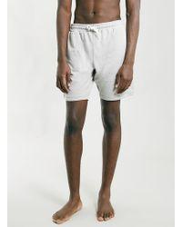 Topman Light Grey Marl Jersey Shorts - Lyst