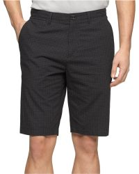 Calvin Klein Black Micro-Check Shorts - Lyst
